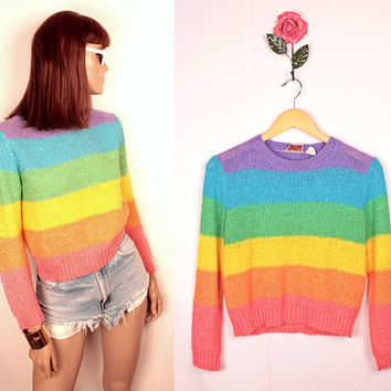 1980s rainbow striped sweater