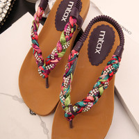 Colorful Braided Flat Sandals A060506