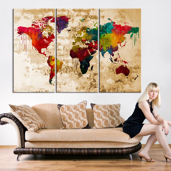 Canvas Print - Watercolor World Map Art - Watercolor 3 Panel World Map Print on Canvas, Framed and Streched, Ready to Hanging