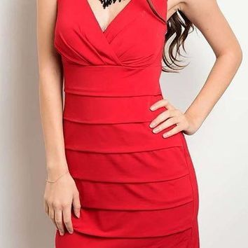 Date Night Red Lace Cutout Bodycon Dress