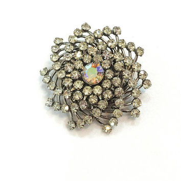 Judy Lee Brooch, Clear Crystal Brooch, Aurora Borealis, Rhodium Silver, Crystal Hair Accessory, 1950s, Rhinestone Wedding Vintage Jewelry