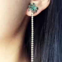 Silvertone and Green Crystal Palm Tree Earrings