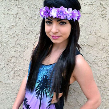 Adjustable Flower Headband - Flower Crown - Hippie Headband - Purple Flowers - Hair Accessories