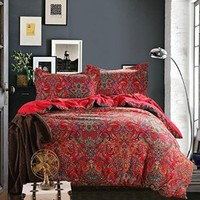 Cliab Moroccan Bedding Bohemian Bedding Sets Queen 100% Brushed Cotton Duvet Cover Set