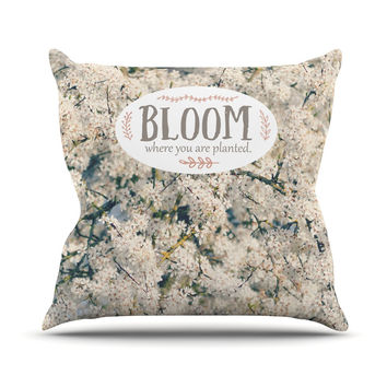 """Robin Dickinson """"Bloom Where You Are Planted"""" White Floral Outdoor Throw Pillow"""