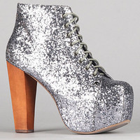 The Lita Shoe in Pewter Glitter