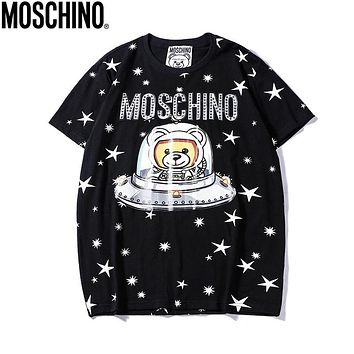 Copy of MOSCHINO Summer Hot Sale Women Men Casual Print Pure Cotton T-Shirt Top Black