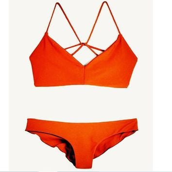 HOT RED TWO PIECE BACK SEXY DESIGN SWIMWEAR BATHSUIT SWIMSUIT polyline two piece bikini-2