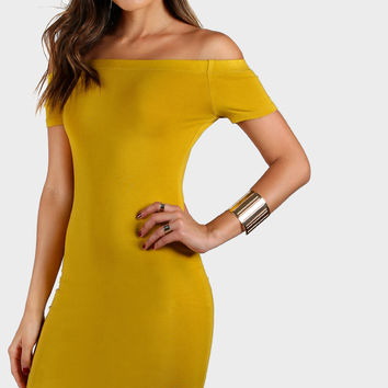 Yellow Off Shoulder Curved Hem Bodycon Dress
