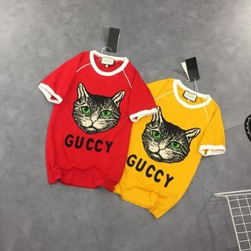 """Gucci"" Women Casual Retro Fashion Multicolor Cat Head Embroidery Letter Short Sleeve T-shirt Top Tee"