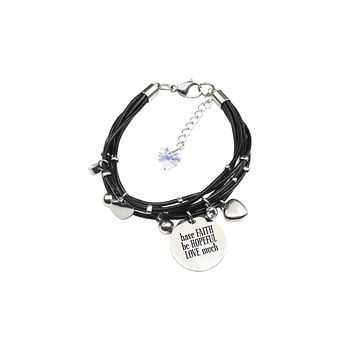 Genuine Leather Bracelet made with Crystals from Swarovski - Faith Hope Love