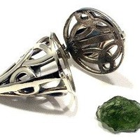 Rough Moldavite Locket Pendant Celtic Knot Jewelry Pendulum