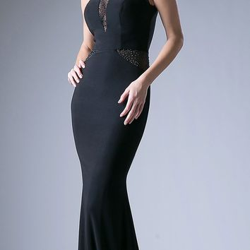 Black Fit and Flare Evening Gown Scoop Neck with Sheer Cut Out Bodice
