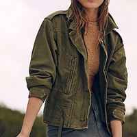 Free People Womens Zip Army Jacket