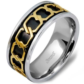 Simon G. Two-Tone Gold Chain Link Wedding Band
