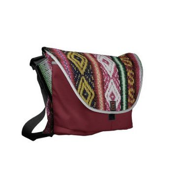 Vintage Colorful Pink Stripes  Aztec Pattern Messenger Bag from Zazzle.com
