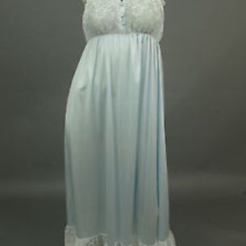 Vintage VAL MODE Nightgown Negligee Blue Chiffon Gown White Lace Lingerie Petite