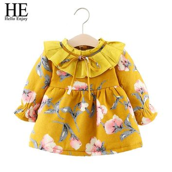 HEHello Enjoy baby girl baptism dresses winter thick long sleeve print floral bow party princess dress infant 1st birthday dress
