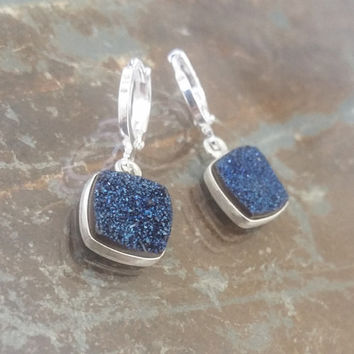 Blue Druzy Silver Earrings, Silver Druzy Earrings, Blue Druzy Earrings, Druzy Earrings, Blue Druzy, Silver Druzy, Silver Earrings, Druzy
