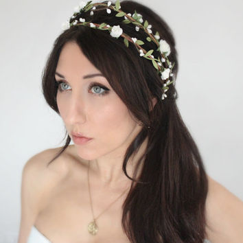 NATURAL Flower Crown, Wedding Headpiece, Bridal Tiara, Hair Flower - HOPE - by DeLoop