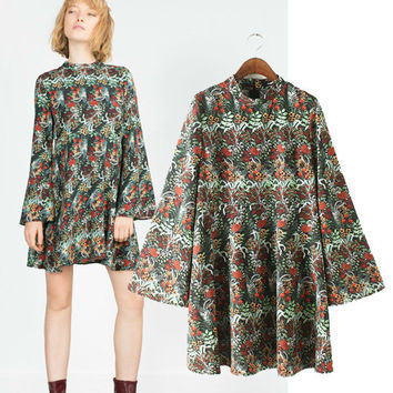 Women's Fashion Loudspeaker Print Long Sleeve Skirt One Piece Dress [5013201988]