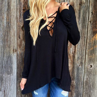 Criss Cross Back V Neck Casual Party Playsuit Clubwear Bodycon Boho Top Shrit T-Shirt T-Shirt _ 4496