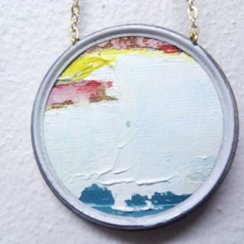 Abstract Landscape Necklace Snow in Oil on Canvas in by Ayliss