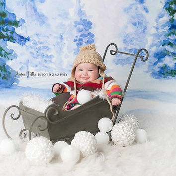 5ft x 5ft + Photography Backdrop - Winter Wonderland Backdrop, Christmas Backdrop, Holiday Backdrop, Wood Backdrop