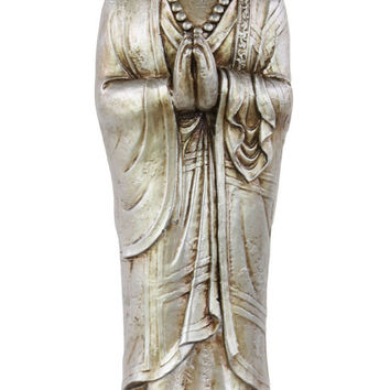 Resin Standing Buddha Figurine without Headgear in Anjali Mudra on Lotus Base Glaze Finish Silver