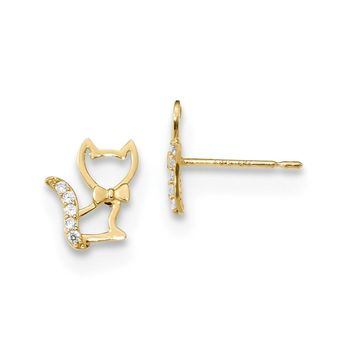 14K Yellow Gold Madi K Childrens Kitten w/CZ Tail Post Earrings