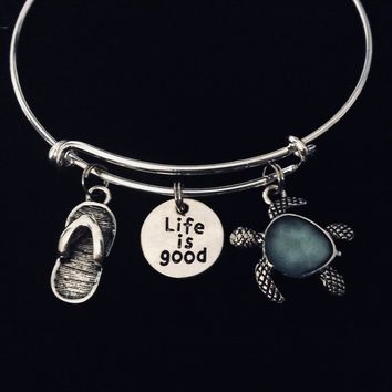 Flip Flops Life is Good Sea Glass Green Turtle Jewelry Adjustable Bangle Charm Bracelet Fertility Charm Bangle Expandable Charm Bracelet