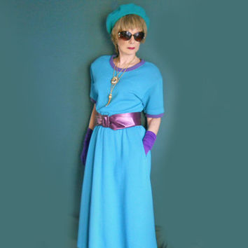 Vintage 80s Dress - Lesley Fay Knit Dress - New with Tags