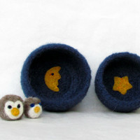 Felt bowls blue - Cozy little vessel with yellow moon and star - nesting wool bowls set of two - holiday gift Christmas