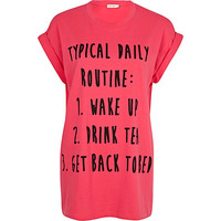 River Island Womens Pink daily routine print t-shirt