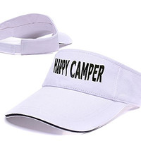 BARONL Happy Camper Adjustable Visor Cap Embroidery Sun Hat Sports Visors White