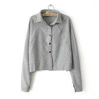 Gray Long-Sleeve Button Collared Sweater