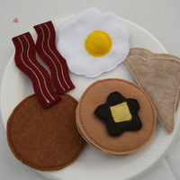 Felt Food - 10 piece Breakfast Platter  with Pancakes Felt Play Food Set - 10% Savings