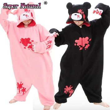 HKSNG Big On Sale High Quality Black Pink Gloomy Blood Bear Fleece Animal Women Onesuits Pajamas Adult Cosplay Costume Pyjamas