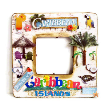 Collage Picture Frame - Travel Frame - Keepsake Photo Frame (Caribbean / Bahamas / Jamaica) Sea Turtles