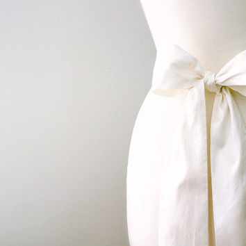 Ivory silk wedding sash.