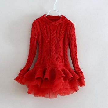 2016 New Baby Girls Christmas sweater Dress Costume children warm winter Dresses Xmas Red color toddler girls Clothing