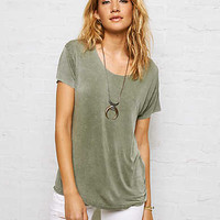 Don't Ask Why Drapey Open-Back T-Shirt, Olive