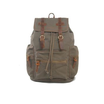 5571a0161b7c Vintage Men Casual Canvas Leather Backpack Rucksack Bookbag Satc