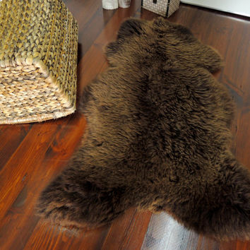 Wonderful Genuine Natural Soft Wool Sheepskin Rug - Light Brown / Choco Mix - ebSN 15