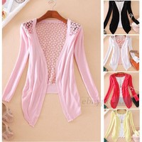 White/Black/Pink/Red/Yellow Knit Cotton Lace Long Sleeve Cardigan Sweater Coat