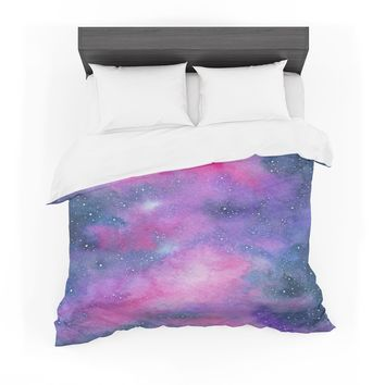 """Viviana Gonzalez """"Beautiful Galaxy II"""" Pink Blue Abstract Contemporary Watercolor Mixed Media Featherweight Duvet Cover"""