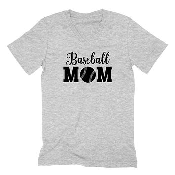 Baseball mom V Neck T Shirt