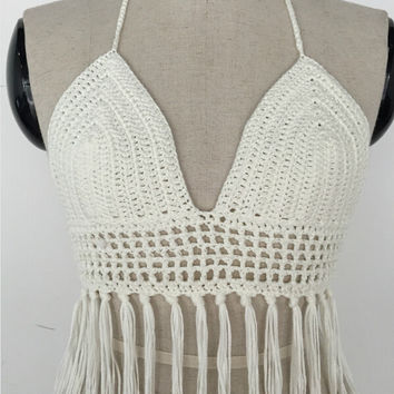Limited Handmade Tassel Knitting Crochet Blouse Beach Bikini Bra Tank Top Vest for Womens Summer Gift-57