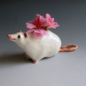 White Rat Sculpture & Vase  Hand sculpted ceramic by MaidOfClay