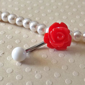 Red Rose Belly Ring 14ga Navel Ring Stainless Steel Body Jewelry